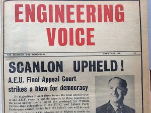 Cover of Engineering Voice announcing Hugh Scanlon's victory in the AEU Appeal Court