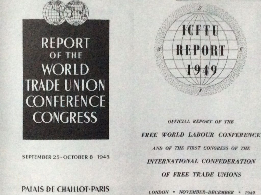 Image of the cover of the report on the 1945 and 1949 World trade union meetings in Paris and London